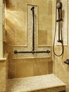 Attractive, thoughfully installed balance bars in shower.